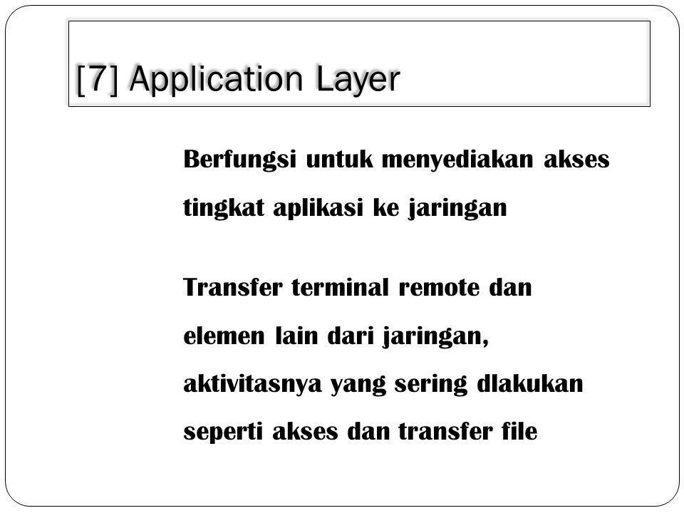 3/30/2011 [7] Application Layer. Berfungsi untuk menyediakan akses tingkat aplikasi ke jaringan.
